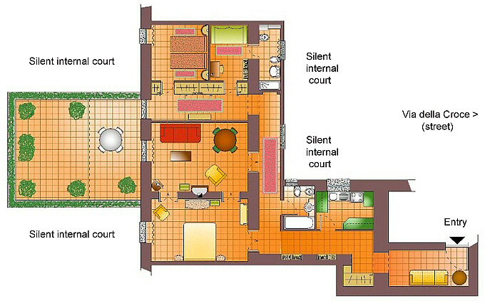 Rome spanish steps via della croce floor plan of large three bedroom apartment with terrace - Terras appartement lay outs ...