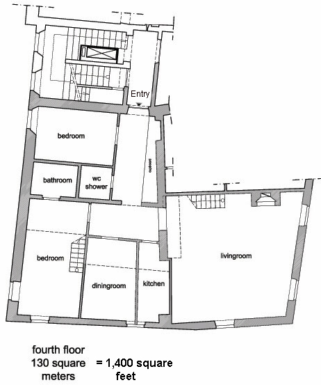 Floor plans of Rome Navona elegant four bedroom four bathroom attic  apartment with two terraces 360 degrees views of all Rome's sights -  complete panoramic ...