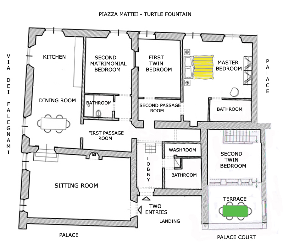 Map and floor plan of the navona campo de 39 fiori turtles for Rental apartment plans