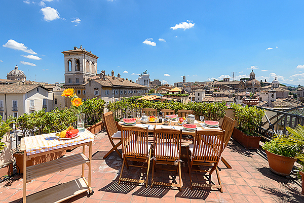 The Panoramic Terrace Of The Turtles Dream Apartment Amidst Rome Domes And  Sights