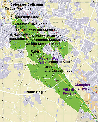 Rome Ancient Appian Way map aerial photos history villas for rent