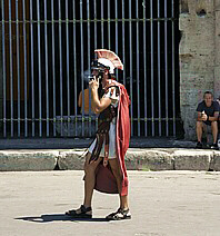 A Roman soldier... having a smoke